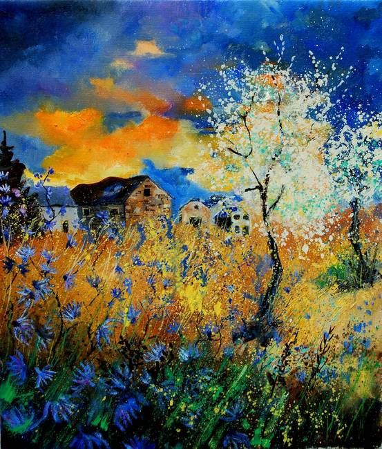 Spring Tree in blossom landscape with poppies