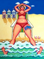 R and D - Funny Woman Beach Seashore Ocean