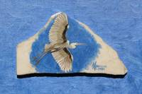 Flying Egret on Italian Marble Painting