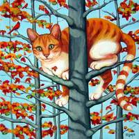 Cat in Camouflage - Orange Tabby Fall Autumn Tree