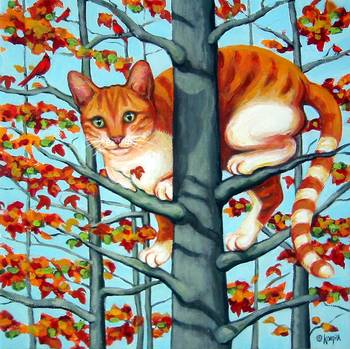 Cat In Camouflage Orange Tabby Fall Autumn Tree By