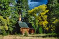 Church nestled in the woods