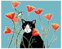 Cat with Poppies