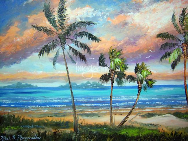 tropical island beach painting by mazz original paintings