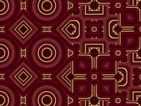 00064b Geometric art, red & gold