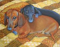 Best Buds - Funny Red and Black Dachshund Dog