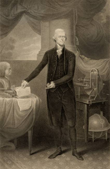 Thomas Jefferson holding Declaration