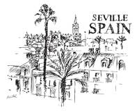 Panorama of the Giralda cathedral in Seville, Spai