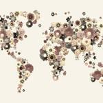 """""""Flower World Map Sepia"""" by ModernArtPrints"""