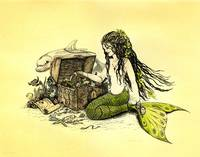 'Lilly' Mermaid and Dolphin Ink Drawing by Savanna Redman