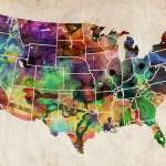 """USA Watercolor Map"" by ModernArtPrints"