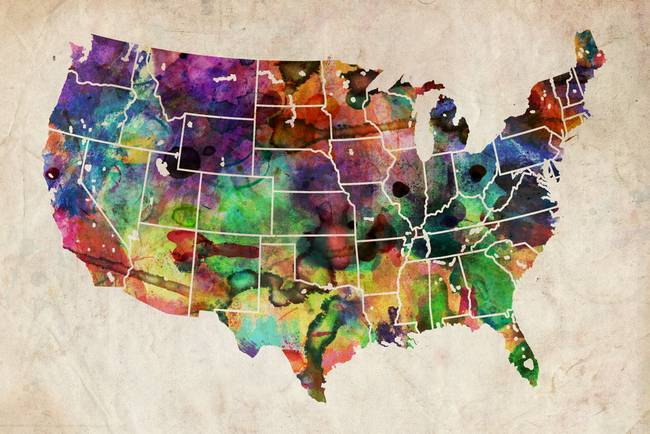 USA Watercolor Map By Michael Tompsett - Watercolor us map