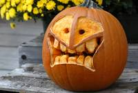 Creatively carved Jack-o-lantern