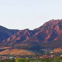 """Boulder Colorado Flatirons 1st Light Panorama"" by lightningman"