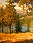 "Impressionist Painting of High Mountain Lake"" Morn"
