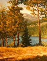 Impressionist Painting of High Mountain Lake