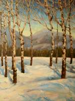 Impressionistic Painting or Aspens in Winter