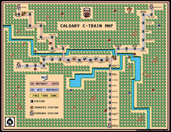 Calgary CTrain Map Super Mario 3 World 1 Style by Dave Delisle