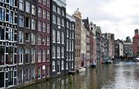 Amsterdam buildings and canal.