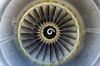 Jet airplane engine detail.