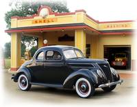 1937 Ford Coupe, Vintage Shell Gas Station