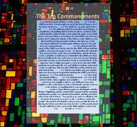 the Ten Commandments on stain glass