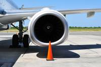 Air transportation: Jet engine detail.