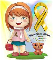 GOLD = Cure 4 kids Cancer - (Little Girl with Pupp