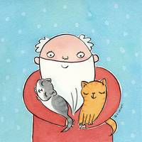 Santa Claus with Kitty Cats