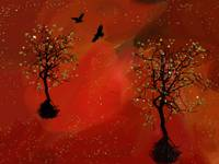 Glitter Trees On Red And Orange 4