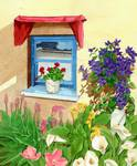 window with blue flowers Posters