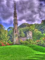 HDR of church at Stourhead Gardens with follie
