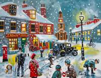 Snowball fight oil painting