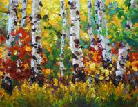 Colorful Impressionist Painting of Aspens in Fall