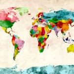 """World Map Watercolors"" by ModernArtPrints"