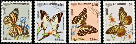 Collection of butterflies stamps.