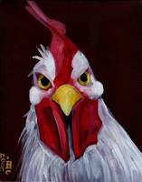 RU Looking at Me - Angry White Rooster