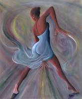 Blue Dress (oil on canvas) by Ikahl Beckford