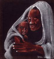 Father and Son, (oil on suede) by Ikahl Beckford