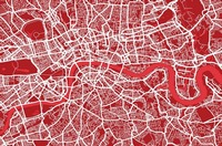 London Map Art Red