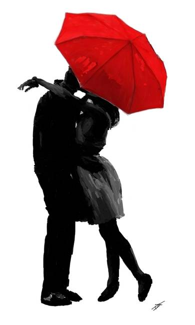 Kissing Under The Red Umbrella By TranscendingArt 2011