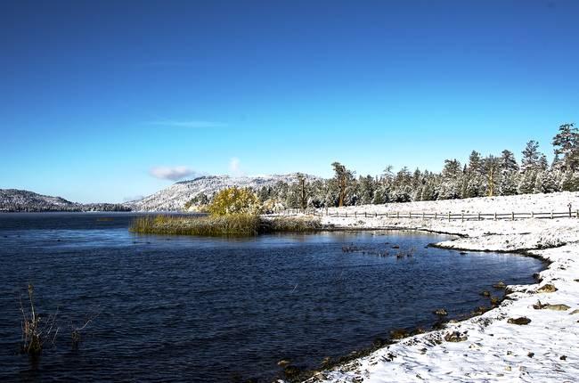 North Shore of Big Bear Lake First Snow