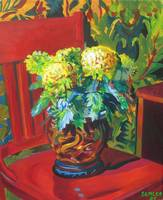 Chrysanthemums with Red Chair
