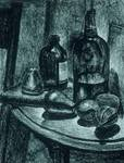 Still Life with Bottles and Wooden Fruit