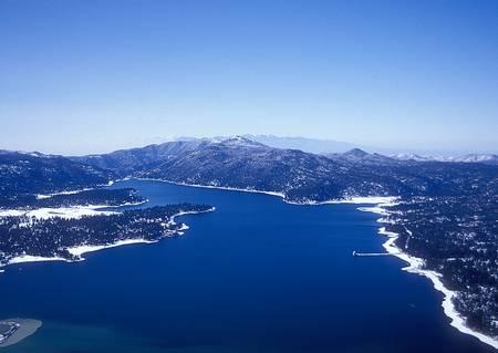 Aerial of Big Bear Lake, CA in Winter