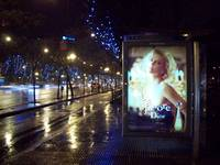 Charlize Theron at the bus stop in Madrid