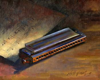 Harmonica With Sheet Music by artist Hall Groat II. Giclee prints, art prints, a still life, fine art print; from an original oil painting