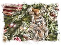 Christmas Holiday Angel, Red Gold Ball, Blessings