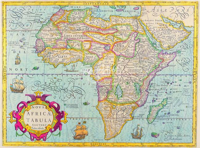 AFRICA, ANCIENT OLD MAP OF AFRICA by CULT CLASSIC MOVIE POSTERS