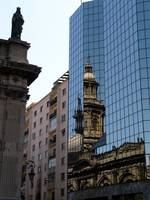Contrast of modern and historic in Santiago, Chila